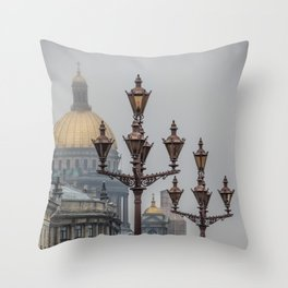 Street lights of Saint Petersburg Throw Pillow