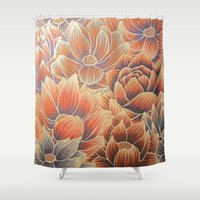 lotus flower Shower Curtains featuring Lotus by Jess Moore