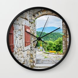 Town of Hum stone gate and street view Wall Clock