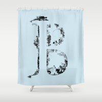 font Shower Curtains featuring B FONT by riz lau