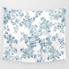 Vintage blue white bohemian elegant floral Wall Tapestry