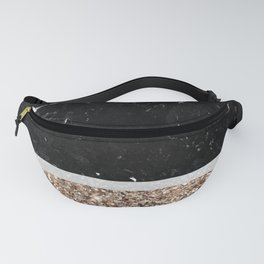 Black and White Marble Gold Glitter Stripe Glam #1 #minimal #decor #art #society6 Fanny Pack