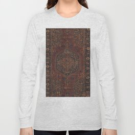 Boho Chic Dark I // 17th Century Colorful Medallion Red Blue Green Brown Ornate Accent Rug Pattern Long Sleeve T-shirt