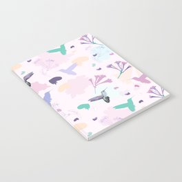 Hummingbird and flower pastel petal pattern Notebook