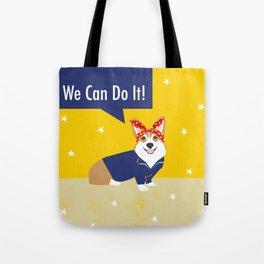 Corgi Rosie - Rosie the riveter, dog, dogs, dog costume, cute dog Tote Bag