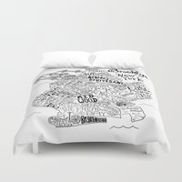 brooklyn Duvet Covers featuring Brooklyn Map by Claire Lordon