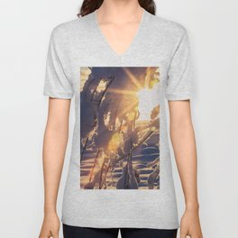 Midday sunburst through snow covered branches at Creamers Field Unisex V-Neck