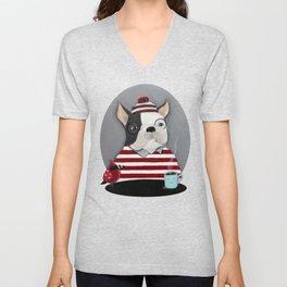 Waldo the Boston Terrier Unisex V-Neck