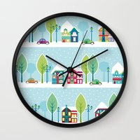 ski Wall Clocks featuring Ski house by Polkip