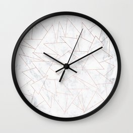 Modern rose gold geometric triangles on white marble Wall Clock