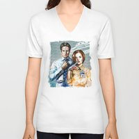 scully V-neck T-shirts featuring Mulder and Scully by Tatiana Anor
