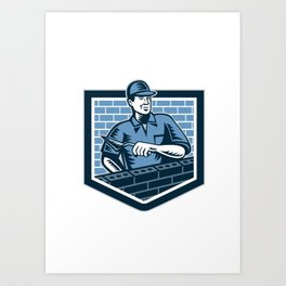 Brick Layer Mason Masonry Worker Retro Art Print