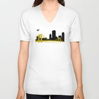 pittsburgh V-neck T-shirts featuring Pittsburgh Browncoats by Caroline Moore