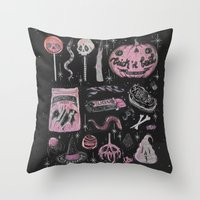 loll3 Throw Pillows featuring Trick 'r Treat by lOll3