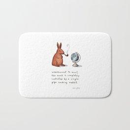 Pipe-smoking rabbit Bath Mat