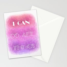 I Can [do all things] (white on colour) Stationery Cards