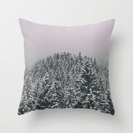 Snowy winter in the woods Throw Pillow