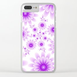 Pink Flowers on White Background Clear iPhone Case