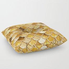 Gold Trendy Glitter Mermaid Scales Floor Pillow