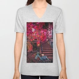 New York City Brooklyn Bicycle and Autumn Foliage Unisex V-Neck
