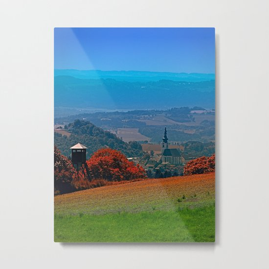 A hunting perch, a village and some vivid scenery Metal Print