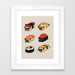 Sushi Pug Framed Art Print
