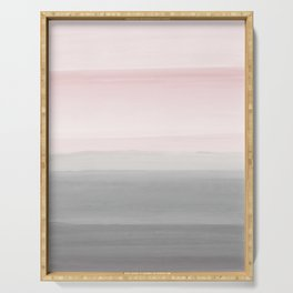 Touching Blush Gray Watercolor Abstract #4 #painting #decor #art #society6 Serving Tray