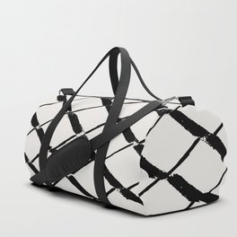 Modern Diamond Lattice Black on Light Gray Duffle Bag