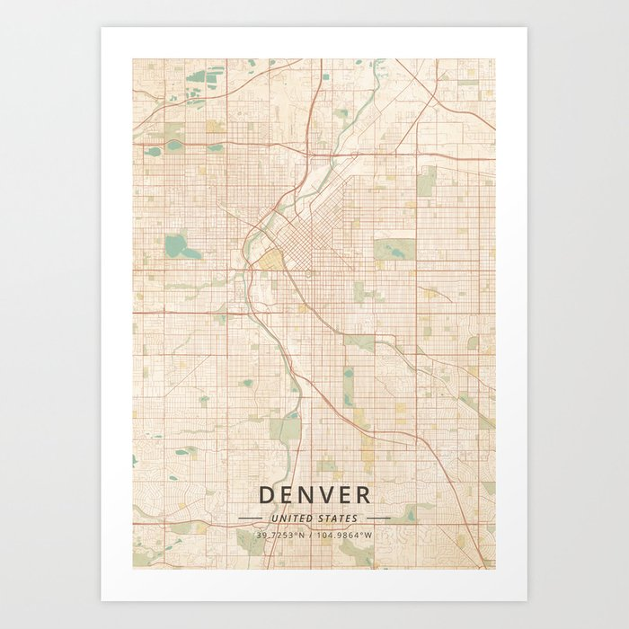 Denver United States Vintage Map Art Print By Designermapart