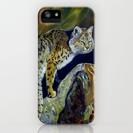 Bobcat  Painting  wildlife art  bold brushstrokes combined with vivid colours Alla Prima style favou iPhone Case