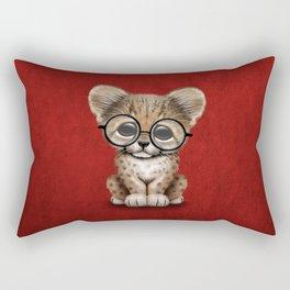 Cute Cheetah Cub Wearing Glasses on Deep Red Rectangular Pillow