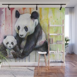 Rainbow Pandas Watercolor Mom and Baby Panda Nursery Art Wall Mural