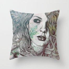 Wake: Summer   maple leaves tattoo woman portrait Throw Pillow