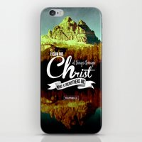 bible verses iPhone & iPod Skins featuring Typographic Motivational Bible Verses - Philippians 4:13 by The Wooden Tree