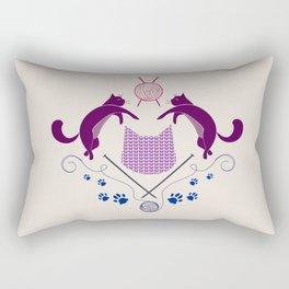 Cats Knitting Demask - Digital Art Rectangular Pillow
