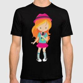Rock Girl, Orange Hair, Band Singer, Microphone T-shirt