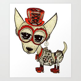 Steampunk Chihuahua white Art Print