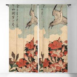 Hokusai Cuckoo and azaleas -hokusai,manga,japan,Katsushika,cuckoo,azaleas,Rhododendron Blackout Curtain