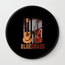 Bluegrass Guitar Mandolin Resonator USA Wall Clock