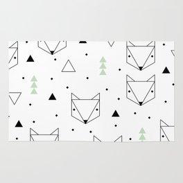 Scandinavian woodland fox forest mint black and Rug