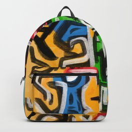 Primitive street art abstract Backpack