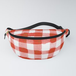 Handpainted Classic Gingham Pattern Tomato Red Fanny Pack