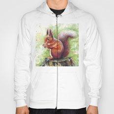 Squirrel Watercolor Painting Hoody