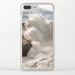 Crashing Waves Explode off the Rocky Cape Arago Oregon Coastline Clear iPhone Case