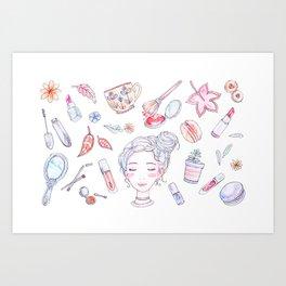 Autumn Beauty - Makeup  Art Print