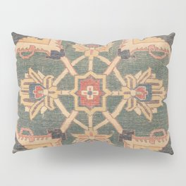 Geometric Leaves VI // 18th Century Distressed Red Blue Green Colorful Ornate Accent Rug Pattern Pillow Sham