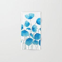 blue poppy field watercolor Hand & Bath Towel