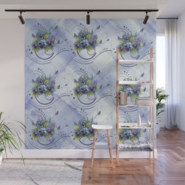 Watercolor Spring Pansy Garden Wall Mural