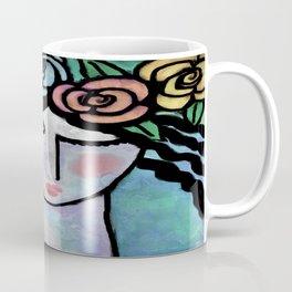 Roses Abstract Digital Portrait of a Woman Coffee Mug
