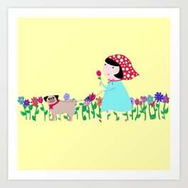 Petunia Takes a Pug for a Walk Art Print